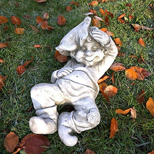 Antikas - Junge schlafend mit Blatt Teich Dekoration Gartenfiguren Steinfiguren wetterfest