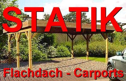 Statik Berechnung Flachdach Carports Breite: 6,00 m - Schneelast: 0,85 kN
