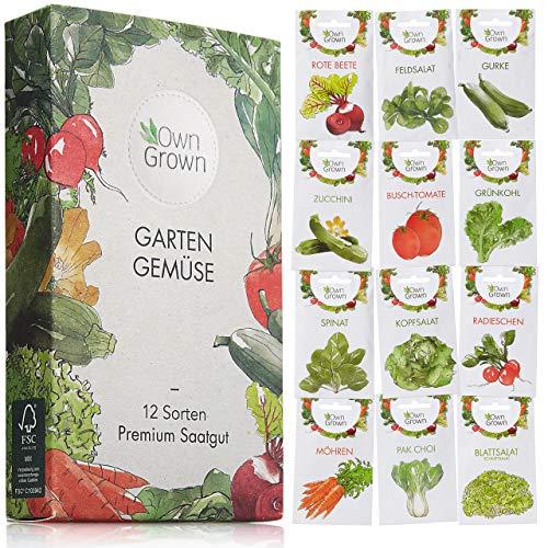 Gemüse Samen Set von OwnGrown, 12 Sorten Premium Gemüse Saatgut, Gemüse anbauen im Garten oder...