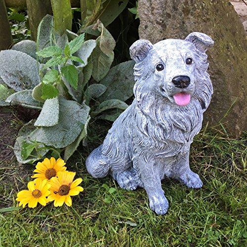 Antikas - Gartenfigur Steinfigur Collie Figuren Tiere - Frostfeste Tierfiguren Dekoration