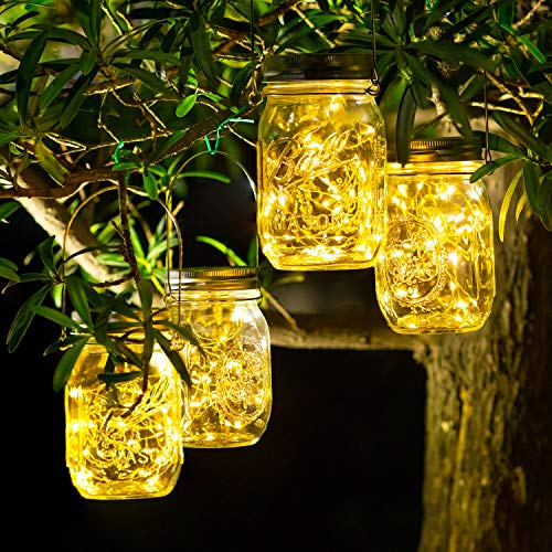 4 Stück Solarlampen für Außen - 30 LED Solar Laterne Hängend Solarlampions Außen Wetterfest...