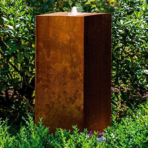 """Köhko® Würfelbrunnen """"Peru"""" Höhe 69 cm Gartenbrunnen 31005 aus Cortenstahl mit..."""
