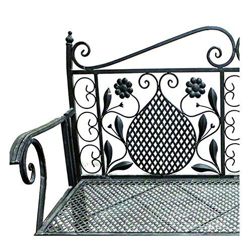 Mojawo Edle Parkbank aus Eisen Gartenbank 107cm 2-Sitzer Antik Design Sitzbank im Landhausstil Grau