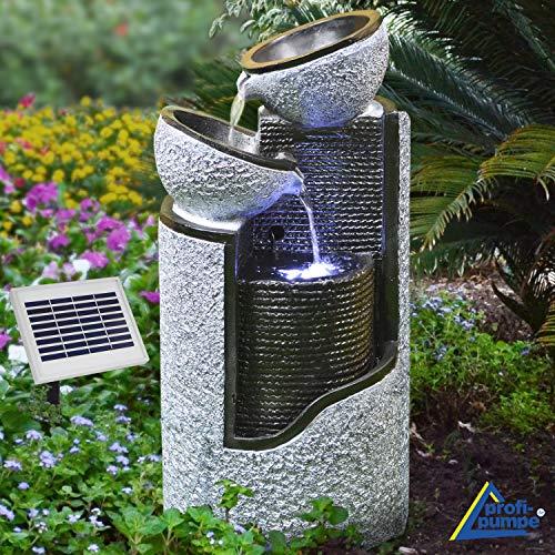 AMUR Solar Gartenbrunnen Brunnen Solarbrunnen Zierbrunnen Vogelbad Wasserfall Gartenleuchte...