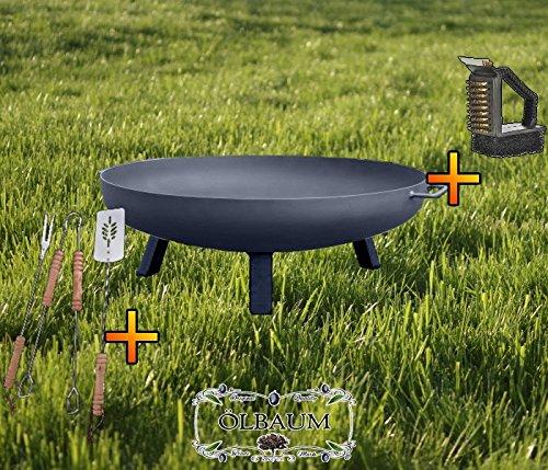 ÖLBAUM XXL Feuerschale ca. 60 cm Feuerkorb aus Stahl + Grillbesteck UND Reiniger Grill Grillen für...