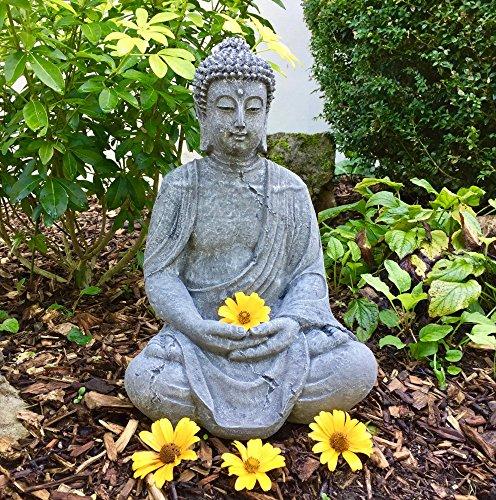 Antikas - Buddha meditierend traumhafte Steinfigur Gartendekoration Figuren Terrasse