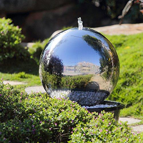 Köhko 50 cm Kugelbrunnen Hochglanz poliert 21005 aus Edelstahl mit LED-Beleuchtung