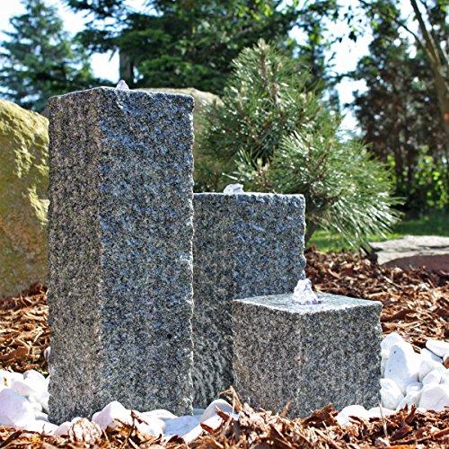 CLGarden Granit Springbrunnen SB2 3 teiliger Säulenbrunnen Steinbrunnen Wasserspiel Gartenbrunnen
